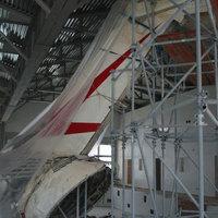 La coda del DC9 all'interno del museo bolognese dedicato a Ustica