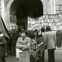 Forlì, dicembre 1972. Manifestazione studentesca nell'anniversario della strage di Piazza Fontana. (Amadori)