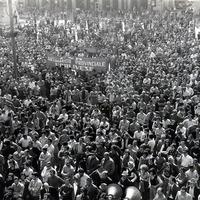 Forlì, 29 maggio 1974, sciopero generale in seguito alla Strage di Piazza della Loggia a Brescia. Vi aderiscono, tra gli altri, la Confesercenti, l'Artigianato Provinciale Forlivese, l'Alleanza Contadini e la Federazione delle Cooperative. (Minisci)