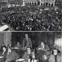 Forlì, 16 marzo 1978. La reazione alla notizia del rapimento di Aldo Moro e del massacro della scorta è immediata: viene indetta una seduta straordinaria del Consiglio Comunale e Provinciale e, nel pomeriggio, si svolge una grande manifestazione in Piazza Saffi. (Il forlivese)