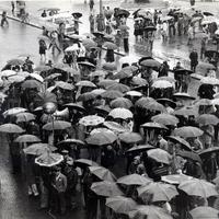 Forlì, 16 marzo 1978, corteo per le vie del centro cittadino  e interventi in piazza Saffi del sindaco di Forlì Satanassi, del Presidente della provincia Galeotti, di Gugnoni, rappresentante della DC e Lattanzi, a nome della Federazione Sindacale Unitaria. (Minisci)
